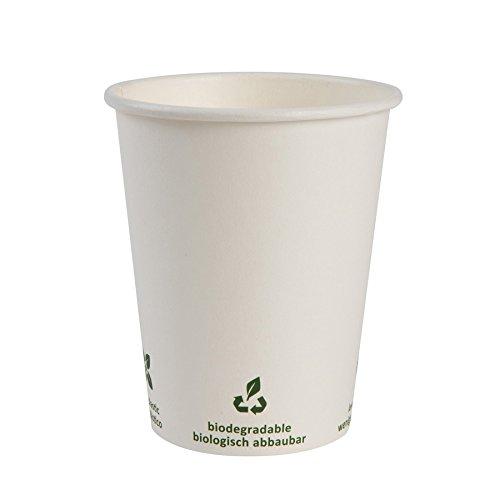 BIOZOYG Bio Kaffeebecher Pappe I Kompostierbares und biologisch abbaubares Geschirr I Trinkgefäß Kartonbecher I Einweg Kaffeebecher weiß mit Icondruck 50 Stück 200ml 8 oz