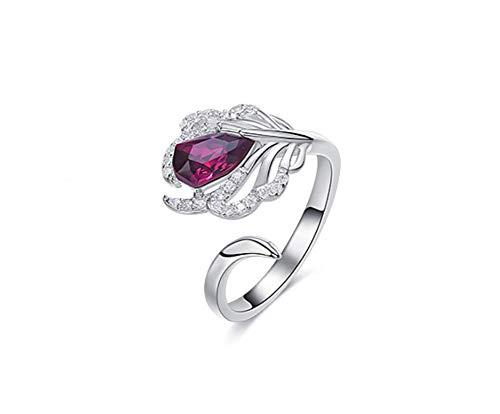 Zxh europeo e americano stile nuovo anello piuma s925 sterling silver handmade utilizzando swarovski element crystal fashion donna anello,6