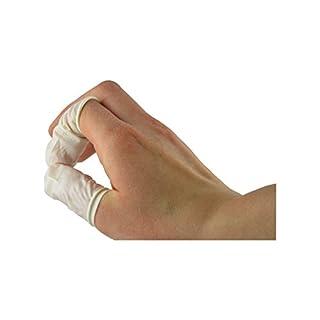 Fingerlinge LATEX Größe 3/M bis 5/XL auswählbar, 100 Stück Schutzkappen für Kosmetik Medizin (Gr. 4 = L)