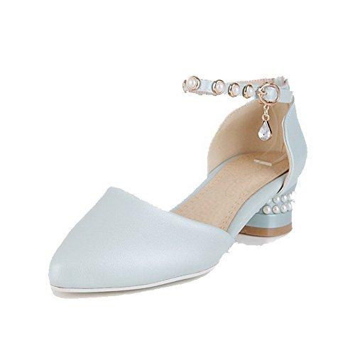 VogueZone009 Damen Spitz Zehe Niedriger Absatz Eingelegt Schnalle Pumps Schuhe Blau