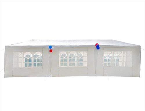 Gutgojo 3x9m Partyzelt UV-Schutz Gartenzelt Hochzeit Festzelt 110g/m² PE Pavillon mit 8 Seitenteilen