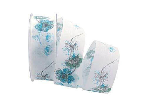 Christa-Bänder Blumenband Mainau türkis 40mm mit Angelschnur