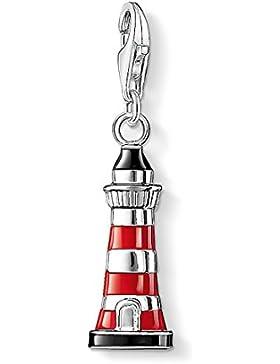 Thomas Sabo Damen-Charm Club-Anhänger Leuchtturm rot und schwarz emailliert 925er Sterlingsilber 0751-007-10