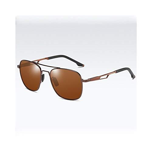 KYS Photochrome Sonnenbrillen Classic Aviator Sonnenbrillen Metallrahmen 100% UV-polarisierte Brille Nachtsichtbrille für Männer und Frauen (Color : Brown)