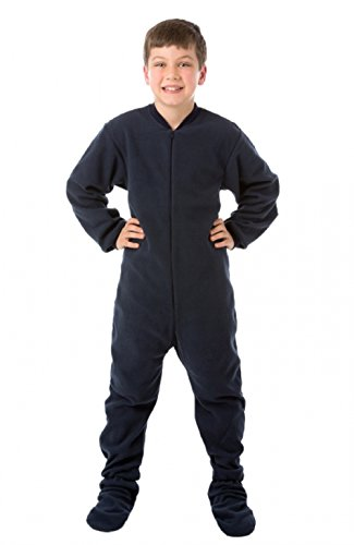 MyPartyShirt Navy Blue Fleece Adult Footed Pajamas-Youth Large -