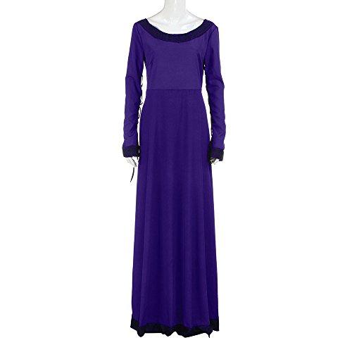 se mittelalterliches O-Ansatz Kleid Damen langes Hülsen Cosplay Bankett Kostüm elegantes Abend Partei Kleid Renaissance gotisches Maxi Kleid (XXL, Lila) (Lila Renaissance Kleider)