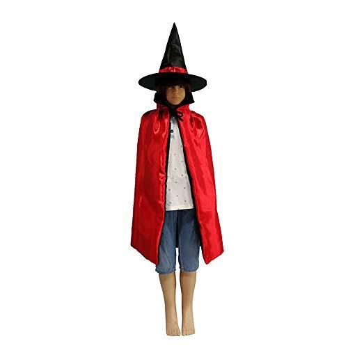LL Halloween-Umhang Halloween Kinder Umhang Kostüm Rot und Schwarz Doppelseitige Satin Hexe Umhang Cosplay (Farbe : - Satin Hexe Kostüm