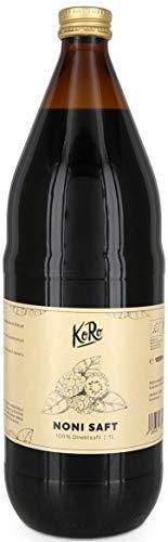 KoRo - Bio Noni Saft 1 Liter - 100% Direktsaft aus der Noni Frucht in der Glasflasche, naturbelassen ohne Zusatz von Zucker - 100% Bio-noni-saft
