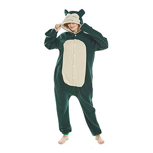 Snorlax Schlafanzug, für Erwachsene, Herren, Damen, mit Schnorchelmotiv, Grün Gr. 85, - Snorlax Kostüm