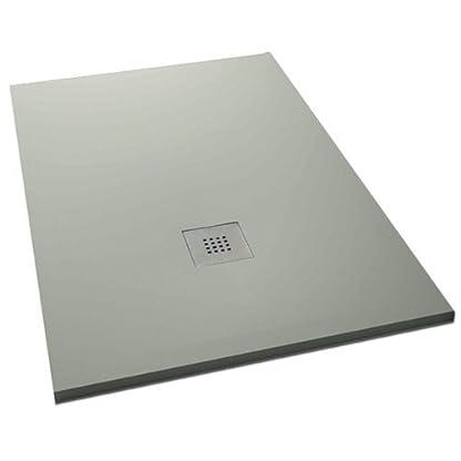 "Plato ducha resina textura pizarra ""Slate"". 80x170cm. Gris claro Ral. 7035"