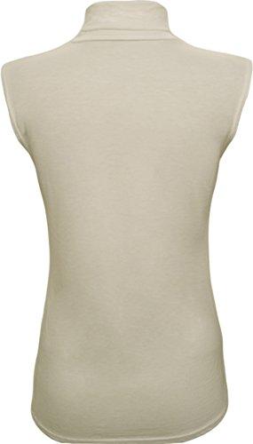WearAll - Haut à col roulé sans manches - Hauts - Femmes - Tailles 36 à 42 Crème
