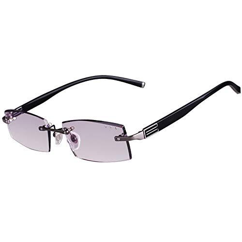 YUANJJ Rahmenlose Lesebrille, Anti-Blue-Ray-Computerbrille, UV-BestäNdige Tragbare Herrenbrille