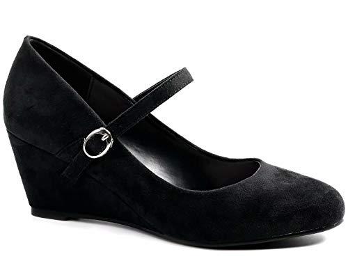 Greatonu Schwarze Damen Pumps mit Keilabsatz Mary Jane Office Schuhe Abendschuhe Dress Pumps, Schwarz M, 39 EU (Mary Jane Schwarz Pumps Für Frauen)