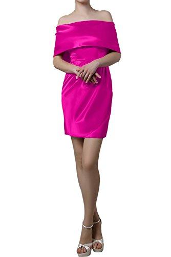 TOSKANA BRAUT Damen 2017 Neu kurz mini Etui Linie Packung Schulter Satin Aermellos Falte Heimkehr Kleid Partykleid Pink