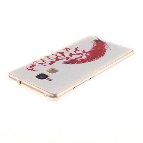 BONROY® Custodia a libro in pelle PU, colorata, con stampa, con chiusura magnetica, scomparti per carte di credito e funzione di supporto formule mathématique Huawei Y330 Red Feather