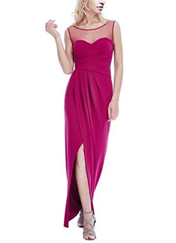ANNN Femme de Sexy Sans Manche Net-Yarn Plissé Party Taille Haute Robe de soirée Rouge-violet