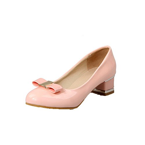 AllhqFashion Damen Rund Zehe Niedriger Absatz Lackleder Rein Ziehen Auf Pumps Schuhe Pink