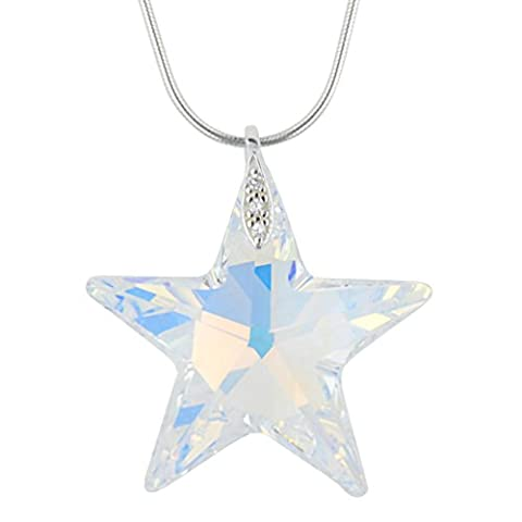 Sterling Silver Pendant Necklace Made with Star Crystals from Swarovski