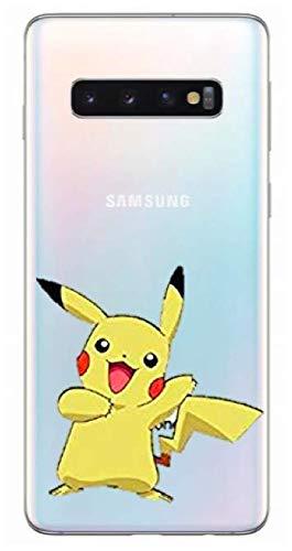 Art Design Funda para Samsung Galaxy S10e / S10 Lite Pikachu Pokemon Pokeball Dibujo Animado Cartoon Transparent Carcasa de Moviles Caso Silicón