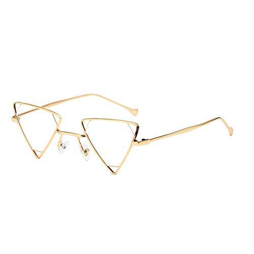 AMZTM Steampunk Sonnenbrille für Damen Herren Hohle Metall Rahmen Kleine Dreieck Brille Mode Punk Stil Vintage Retro Brillen, UV 400 Schutz (Gold Rahmen Klar Linse)