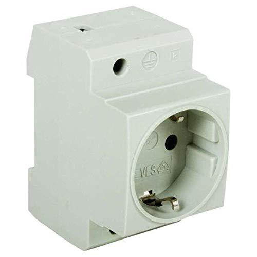 Verteiler-Einbausteckdose für Tragschiene -