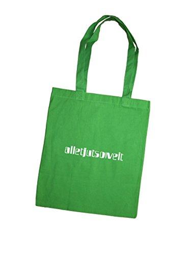 Jutebeutel bedruckt mit Berliner Spruch - alletjutsoweit - / Stoffbeutel / Jute Beutel / Einkaufsbeutel Baumwolle mit Sprüchen von SPREE Klamotte Berlin - Statement Sprüche Tasche - blau grün