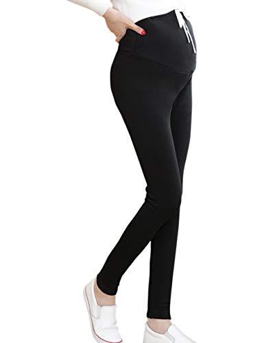 BESBOMIG Autunno Inverno maternità Pantaloni Over Bump Leggings Confortevole Allungare più Felpa Spazzolata di Spessore Pantaloni I Pantaloni Donne