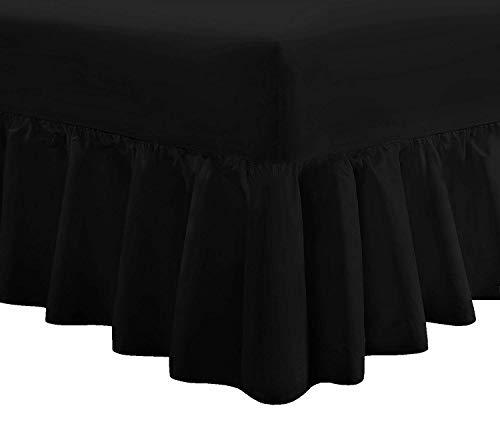 Draps-housse avec jupe de lit, luxueux, très profond, en 14 couleurs, noir, Double