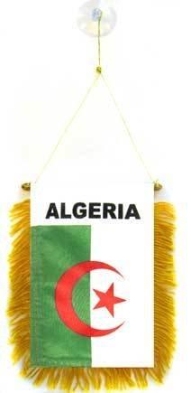 AZ FLAG Fanion Algérie 15x10cm - Mini Drapeau algérien 10 x 15 cm spécial Voiture - Bannière