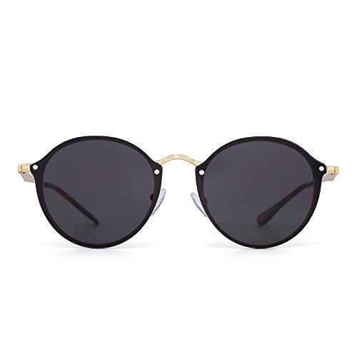 JIM HALO Rund Randlos Sonnenbrille Gespiegelt Retro Klein Kreis Flach Linse Damen Herren(Gold/Transparent Grau)