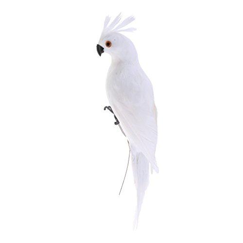 D DOLITY Künstlicher Gefiederter Vogel Federn Ara Papagei Deko Tiere Figur - Weiß, 35x10x9cm