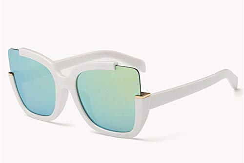 Sonnenbrille Sonnenbrille Frauen Brillen Zubehör Form Halber Frame Fahren Gläser Uv 400 Weißen Rahmen Grüne Linse