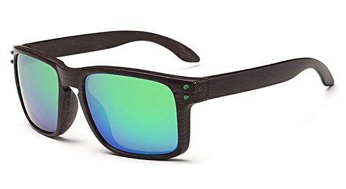 Ducomi Plegno Brillen Sonnenbrillen Unisex Sonnen Rechteckigen Rahmen mit Holzdruck UV400 Schutzwirkung (Farbe 2)