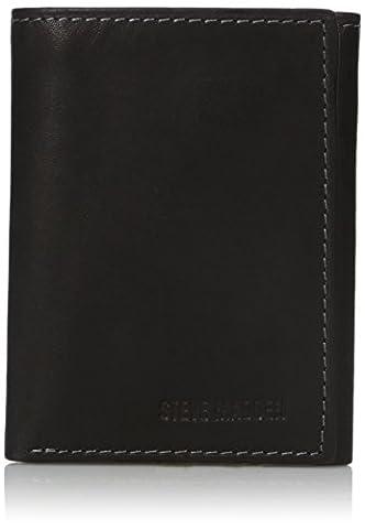 Steve Madden Men's Antique Trifold Wallet, Black, One Size