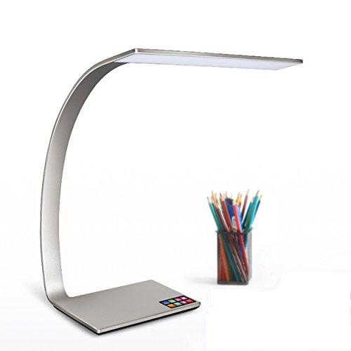 Savonga Adot LED Schreibtischlampe RAYEE Serie Silber ultradünne Aluminium Design | Augenschutz 14W...