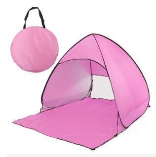Preisvergleich Produktbild LaDicha Portable Pop up Faltung Sonnenschirm Zelt Automatik Schnell Öffnen UV Überdachung Schutz - Rosa