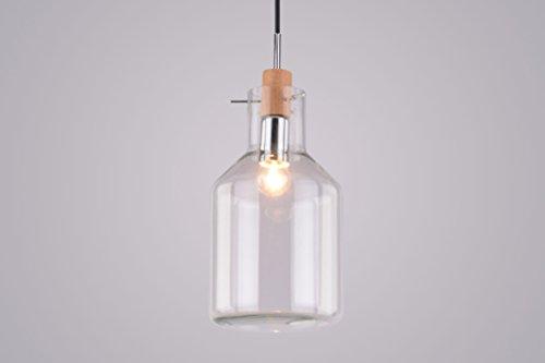 CAGUSTO Pendelleuchte Valla I Glas Flasche Vase Edison Retro Holz Design Bottle