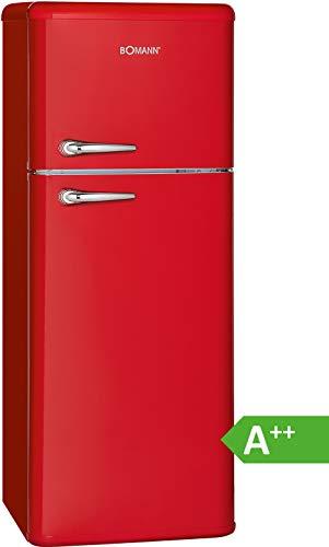Bomann DTR 353 Réfrigérateur à double porte Style rétro Classe d'efficacité énergétique A++,208 L, réfrigérateur 157 L, congélateur 51 L, hauteur 143,5 cm, 172 kWh [classe énergétique A++] rouge