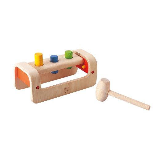 Plan Toys Stadlbauer 13553500 - Klopfbank mit drei Stöpseln und Hammer