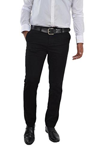 Herren Chino Hose Straight Leg Business gerader Regular Schnitt Jeanshose Chinohose Reißverschluss Schwarz / Black