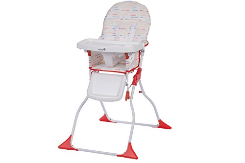 Safety 1st Chaise Haute Keeny Compacte et Pliable, Nettoyage Facile Red Lines