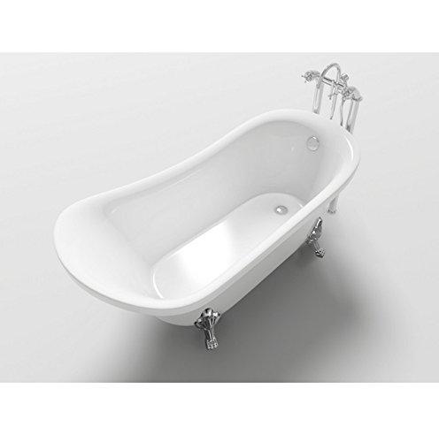Vasca freestanding da bagno 160x72x75 cm stile retrò ovale classica con piedini i