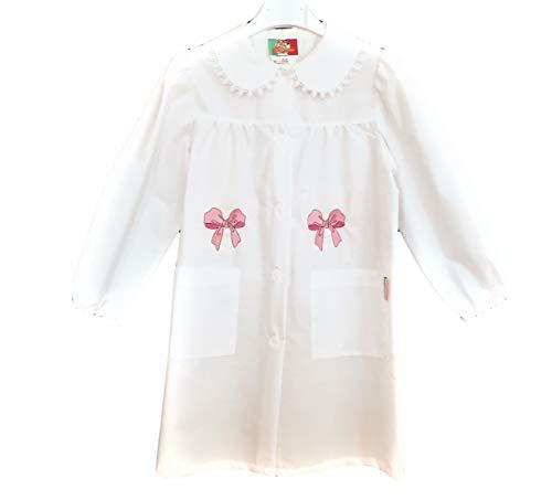 Confezioni mariano grembiule scuola made in italy - elementare bambina colore bianco con ricamo - abbottonatura centrale con bottoni, colletto bianco con motivo ricamo.