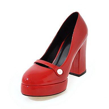 Talloni delle donne Primavera Estate Autunno Wedding pelle verniciata Party & Sera casuale tacco grosso imitazione Pearl Black Rosso Almond Red