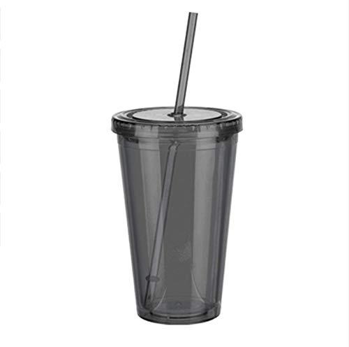 addthinge Tasse 500ml Kunststoff Eisbecher doppelwandig kalt eiskaltes Getränk Kaffee Tee Saft Reiseflasche Tasse mit Strohhalm flüssiger Deckel 1St