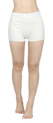 4HOW Jogging Sporthose Damen Sport kurz Stretch Leggings Weiss Strumpfhosen Shorts, XL -