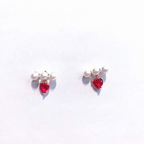 Cyjershi Ohrringe Schmuck S925 Silber Nadel Drei Perlen Eingelegt Rose Red Diamond Ohrringe Personalisierte Ohrringe Geschenk Schmuck (Red Diamond Männer Ohrringe Für)