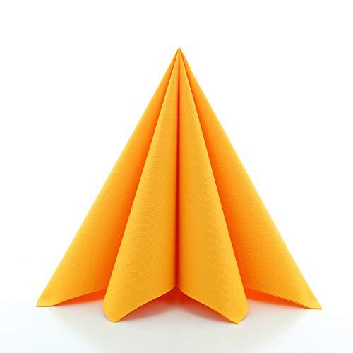 Sovie HORECA Airlaid-Servietten 40x40 cm | hochwertige Einweg-Servietten | extrem saugstark und stoffähnlich | ideal für Hochzeit & Partys | 50 Stück | Curry-Orange
