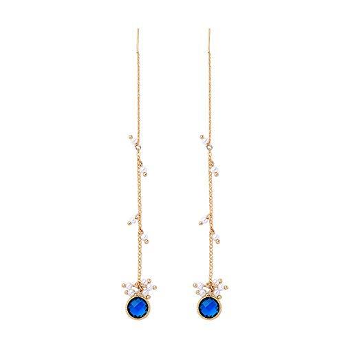 E-H Mode Einfache Ohrringe Hoop Niet Lange Kette Acryl Perle Einzigartige Tiefblaue Glas Schmuck Anhänger Mode Einfache Ohrringe Damen Messing Anhänger Mode Einfache Ohrringe Zubehör (Silber Hoop-post-ohrringe)