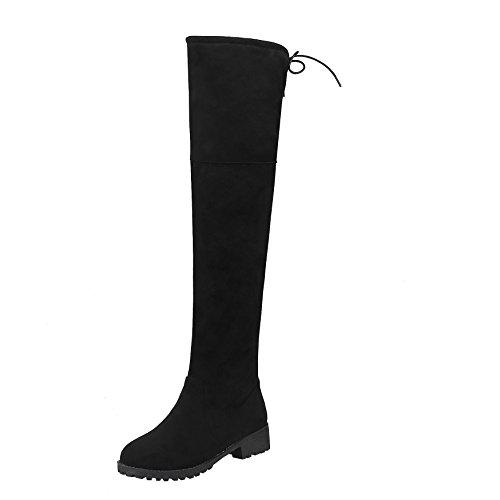 YE Damen Overkneestiefel Flache Stiefel mit Schnürsenkel und Reißverschluss Bequem Elegant Simple Schuhe